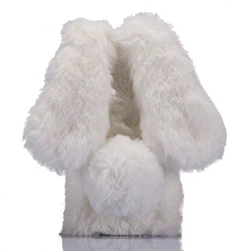 Meizu M6 Note Case,Gift_Source [Slim Fit] Luxury Bling Crystal Rhinestone Faux Fur Plush Cute 3D Rabbit Shaped Fuzzy Fluffy Soft Case Rubber TPU Bumper Cover for Meizu M6 Note (5.5 inch) [White]