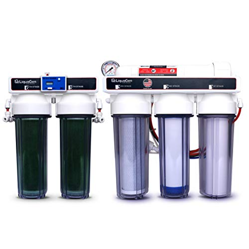 LiquaGen - 6 Stage Heavy Duty - 0 PPM Reverse Osmosis/Deionization Aquarium Reef Water Filter System, 150 GPD