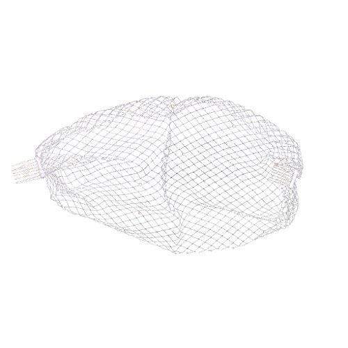 [Simple Elegant Wedding Bridal Pearl Face Birdcage Veil Comb Fascinator-White/Black - White] (Elegant Bride Costumes)