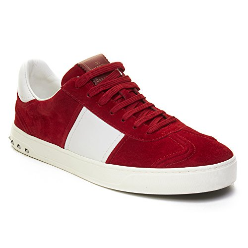 Valentino Men's Suede Leather Sneaker Shoes White (Valentino Suede Leather)