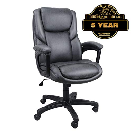 (Luxurious Executive Office Chairs, High-Back Leather Computer Desk Chairs with Flexible Rocking System and Massy Handrail with Padded)