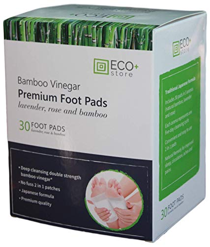 Foot Pads by Eco+Store - 30 Premium 2 in 1 Foot Patches - Lavender, Rose & Bamboo Vinegar - 100% Natural - FDA Approved from Eco+Store