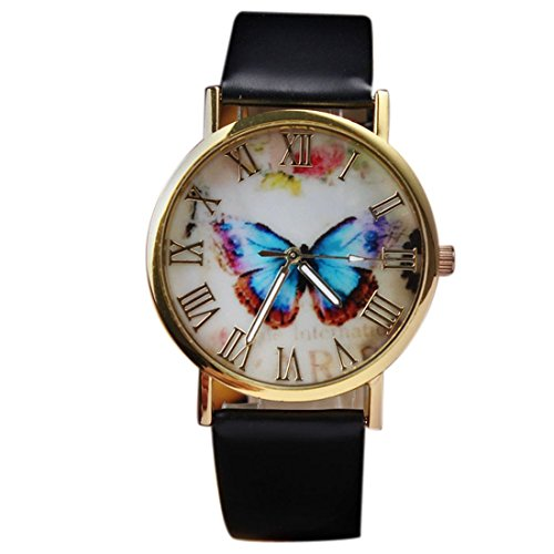 Womens Butterfly Style Leather Band Analog Quartz Wrist Watch Black - 6