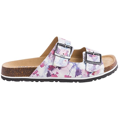 JBU - Sandalias de vestir para mujer blanco (flores)