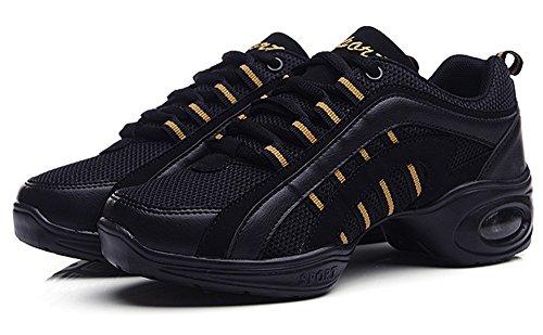 Jiye Zapatos De Baile Al Aire Libre Para Mujer De Moda Transpirable Air Cushion Athletic Sneakers Negro Amarillo