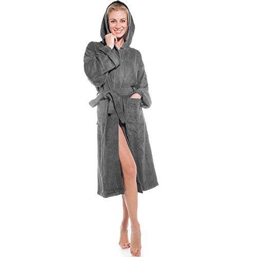 klassischer Bademantel für Damen & Herren   viele Farben alle Größen   Morgenmantel Baumwolle Frottee mit Kapuze   Föhr aqua-textil 0010131   anthrazit XXL