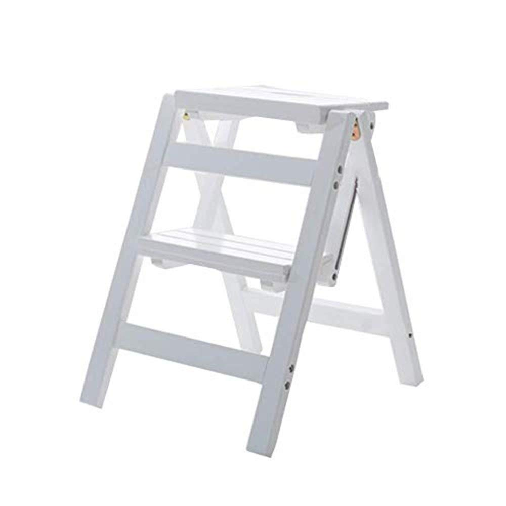 Step Stool Wooden 2 Steps Ladder Stool White & White; Foldable Step Stool, Multifunctional Shelf Ladder Home Library ladders Step Stool