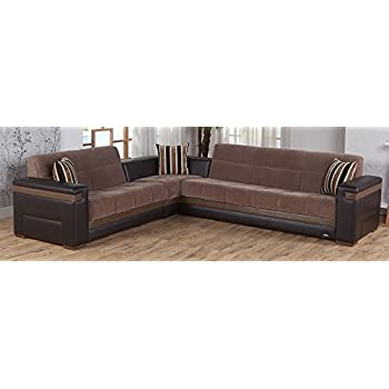 Moon Sectional Sofa Bed in Troya Brown