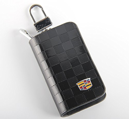 Key chain Bag black Checkerboard pattern Genuine Leather Ring Holder Case Car Auto Coin Remote Smart Key cover Fob Alarm Security Zipper keychain Wallet Bag (Cadillac) (Holder Alarm Car Remote)