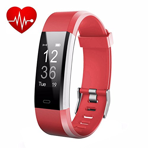 LETUFIT PLUS Fitness Tracker + Heart Rate Monitor,IP67 Waterproof Smart Wristband With Pedometer Watch for Android and Ios (red)