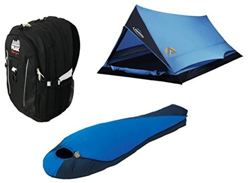 High Peak USA Alpinizmo 38 Backpack Sleeping Bag Swiftlite Tent Combo, Black/Blue, One (High Peak Camping Tents)
