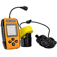 Lysport Portable Wire Sonar Fish Finder Echo Fishing Sounder Alarm River Lake Sea Deep Fishfinder with Sensor Transducer and LCD Display