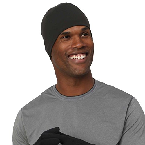 TrailHeads Men's Beanie | Performance Running Hat | Skull Cap & Helmet Liner for Men | Adrenaline Series - Black