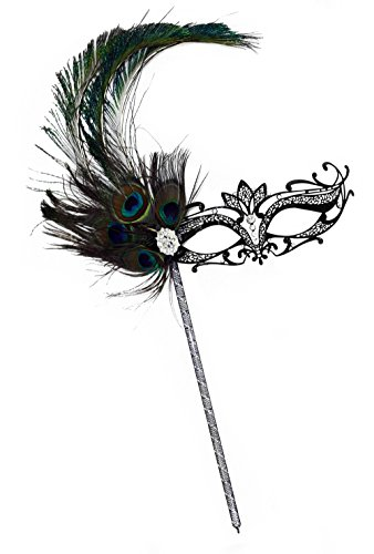 [Orleans Peacock Deluxe Metal Laser Cut Bejeweled Women's Masquerade Stick Mask] (Feather Mask With Stick)