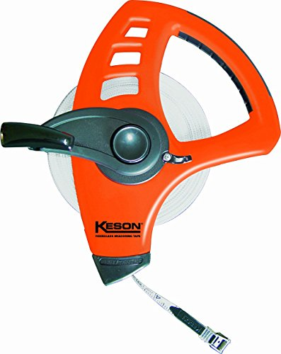 Keson FLT18M165 Freewheeling Fiberglass Tape Measure with Double Hook (Graduations: ft, in, 1/8 & m, cm, 2mm), 50-Meter/165-Foot