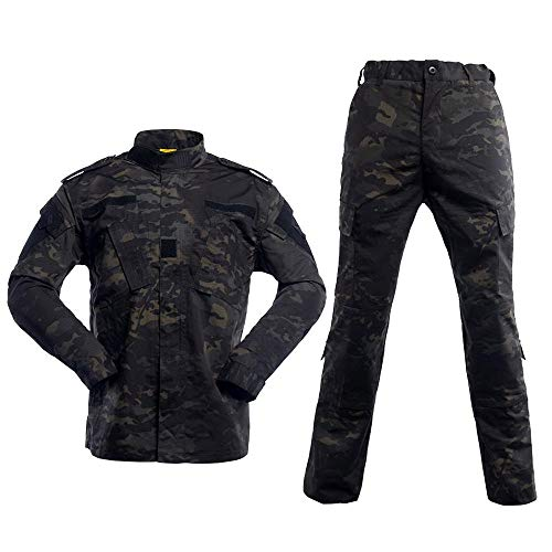 AKARMY Unisex Lightweight Military Camo Tactical Camo Hunting Combat BDU Uniform Army Suit Set MCF Black CP XL