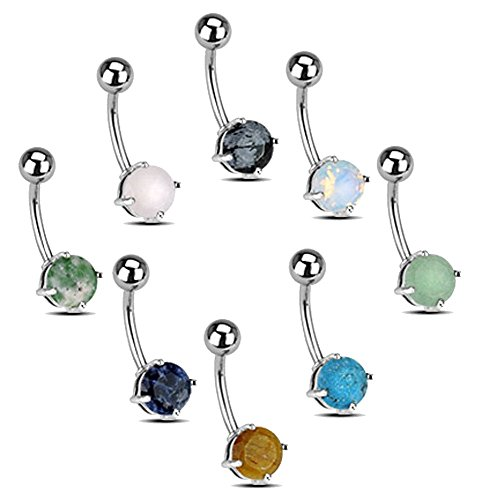 (Set of 8 Belly Navel Rings 14g 3/8