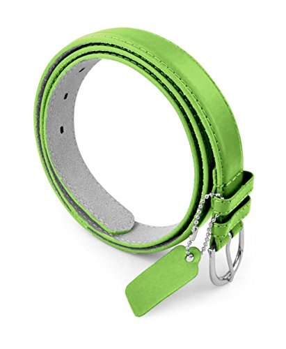 Womens Chic Dress Belt Bonded Leather Polished Buckle - Apple Green Large