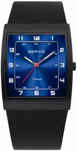 BERING Time 11233-227 Mens Titanium Collection Watch with Mesh Band and Super Hardened Mineral Glass. Designed in Denmark.