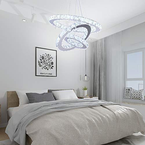 Winretro Modern DIY Crystal LED Chandelier Light Fixture 3 Rings Round Pendant Lighting Adjustable Stainless Steel Ceiling Lamp for Living Room Dining Room Bedroom(Cold White)
