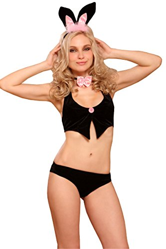SUNSPICE Women Sexy Special Role Costume Lingerie G-string Club Bedroom Collections (One Size Stretchy, 80997 Black Pink (Sexy Bunny Lingerie)