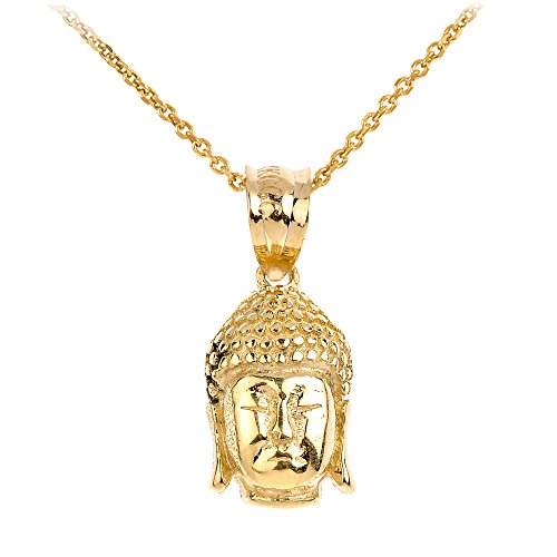 10k Gold Textured Buddha Head Charm Pendant Necklace, 16
