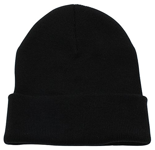 Black Knit Beanie Cap Hat - Top Level Unisex Cuffed Plain Skull Beanie Toboggan Knit Hat/Cap, Blk