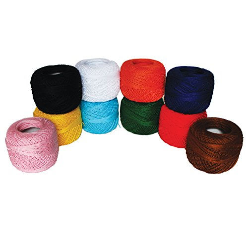 Crochet Thread (10 Pack) Cotton Yarn Threads Balls - 195 Meters Plain Design Assorted Colors - Pearl Cotton Crochet Yarn Crochet Hardanger Cross Stitch Needlepoint Hand Embroidery
