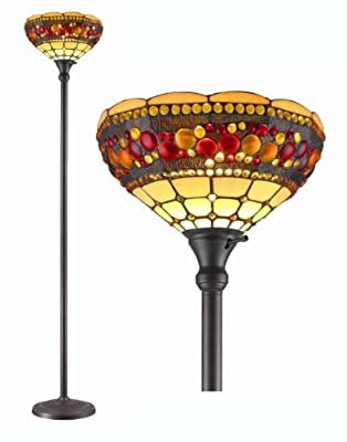 Amora Lighting AM1045FL14 Tiffany Style Jeweled Torchiere Floor Lamp