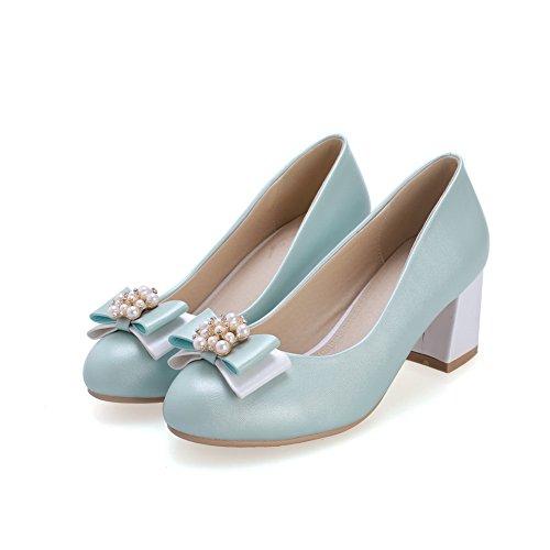 BalaMasa da donna, con perline a punta rotonda kitten-heels Pull-On solido gomma pumps-shoes, Blu (LightBlue), 35