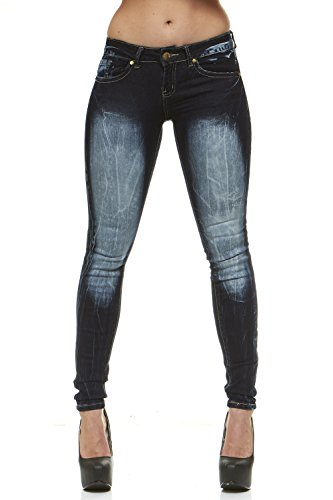 V.I.P.JEANS Classic Skinny Jeans for Women Slim Fit Stretch Stone Washed Jeans Junior Size 9/Splash Bleached - Bleached Jeans