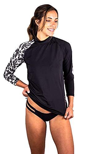Banana Boat Women's Long Sleeve Rashguard UPF50+ Sun Protective Swim Shirt Hibiscus Islander Top Black Medium (Shirts Tee Swim Adult)
