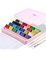 AOOK MIYA Gouache Paint Set, 24 Colors x 30ml Unique Jelly Cup Design, Portable Case with Palette for Artists, Students, Gouache Watercolor Painting (27P PINK)
