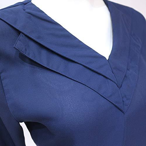 Shirt Mode Unie Couleur T Blouses Manches Longues Chemisiers Haut Automne Bleu Royal Tops Femmes Shirt Col Printemps Casual V et Iw6qCOxP