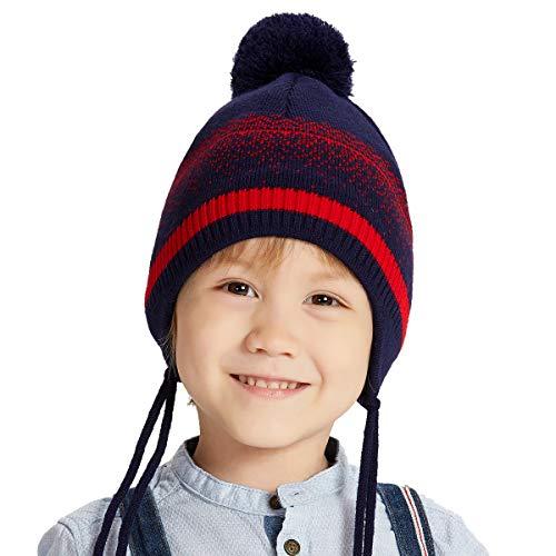 ENJOYFUR Toddler Winter Hat for Boys, Earflap hat Toddler, Pompom Ski Cap