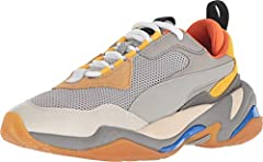 Go your own way with PUMA® Kids and the Thunder Spectra sneaker. Smooth leather upper with dynamic color blocking. Upper features molded TPU laid over premium mesh and nubuck for lightweight durability. Exaggerated tooling and oversized propo...