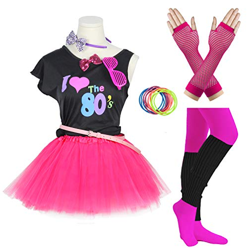 FUNDAISY Gilrs 80s Costume Accessories Fancy Outfit Dress for 1980s Theme Party Supplies (Hot Pink, 10-12 Years)