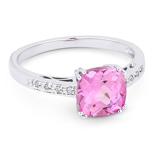 e Gemstone & White-Diamond Rings Set In 14KW White-Gold (Gemstone Pink Sapphire Ring)