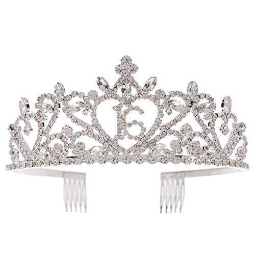 Ella Celebration Sweet 16 Tiara 16th Birthday Party Accessories Supplies, Crown Silver (Silver Heart)]()