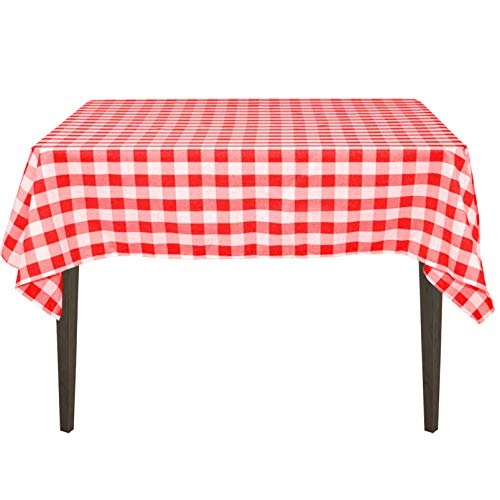 LinenTablecloth 54-Inch Square Polyester Tablecloth Red & White Checker -