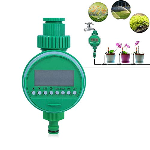 Vuffuw Automatic Watering Timer, 16 Programmable Battery Operated LCD Display Screen Hose Faucet Timer, Single Outlet Electric Water Hose Timer for Garden Greenhouse Plant Irrigation