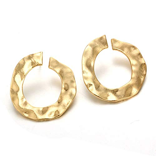 YOMXL Modern Women Girls Punk Metal Circle Earrings European American Style Twisted Round Ear Studs Irregular Curved Open Circle Earrings