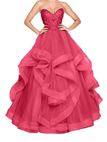 Abschlussballkleider Damen Wassermelon Abiballkleider Gruen Dunkel Jaeger Prinzess Partykleider Abendkleider Spitze Linie Herzausschnitt Charmant A ATqwnxPUU