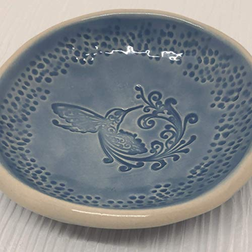 (JANECKA Hummingbird Blue Soap Dish 4.5 Inches, Pottery 9th Anniversary Gift)
