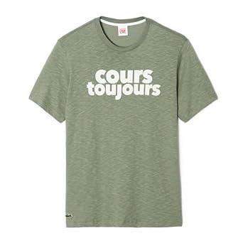 c256652122 Lacoste Tee Shirt Vert Imprimé Cours Toujours: Amazon.fr: Vêtements ...