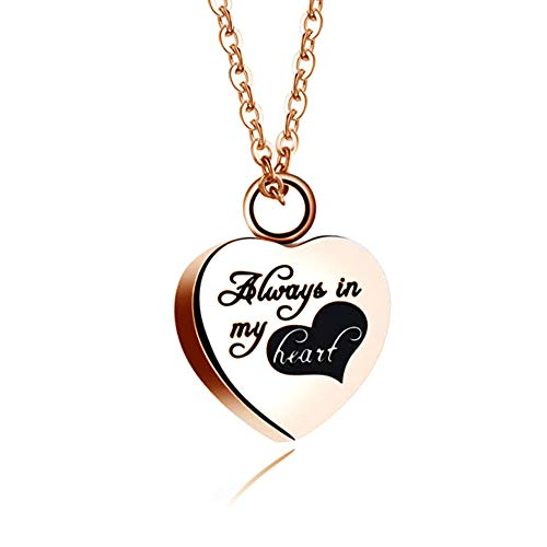 CLY Jewelry Urn Necklace for Ashes Always in My Heart Pendant Rose Gold Necklace Eternity Family Love Cremation Jewelry Memorial Keepsake