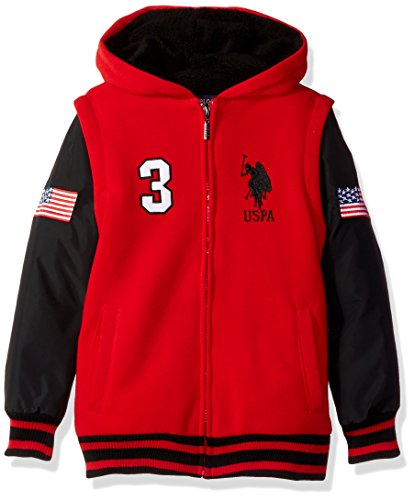U.S. Polo Assn. Big Boys' Long Sleeve Zip up Sherpa Lined Hoodie, Red Lagoon, (Polo Red Sweatshirt)