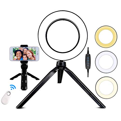Selfie Ring Light: TRAVOR 6 inch Ring Light with Tripod Stand for YouTube Makeup Video Shooting, Mini LED Camera Tabletop Light with Remote Control, 3 Lighting Modes and 11 Brightness Levels