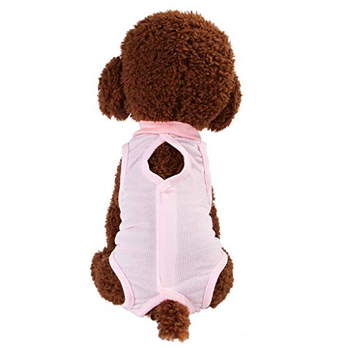 (Pet Surgery Clothes,Cat Professional Recovery Suit for Abdominal Wounds or Skin Diseases,Alternative for Cats and Dogs, After Surgery Wear, Pajama Suit,Home Indoor Pets Clothing (Pink, M))