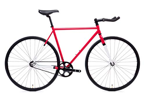 State Bicycle Montoya Unisex A796201623888 - Fixed Gear/Single Speed Bike, 52cm - Bullhorn, Red and White, 52 cm (Parts To Build A Fixed Gear Bike)